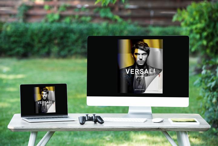 Flipbook 3d sul schermo del computer e laptop con un effetto di capovolgimento di pagina