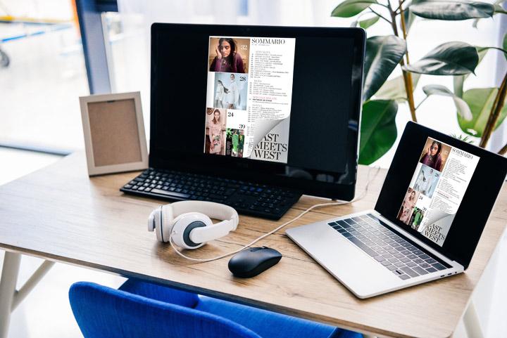 PDF Flip books sul schermo del computer e laptop con un effetto di capovolgimento di pagina